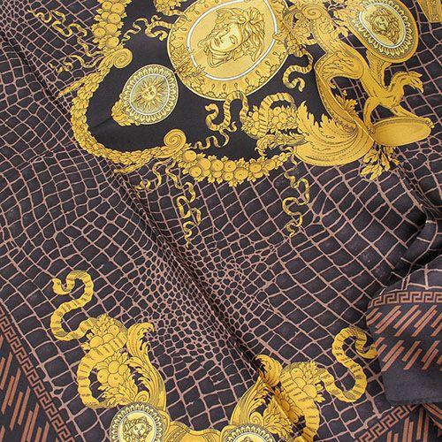 Темно-коричневый платок Versace с золотистыми рисунками, фото