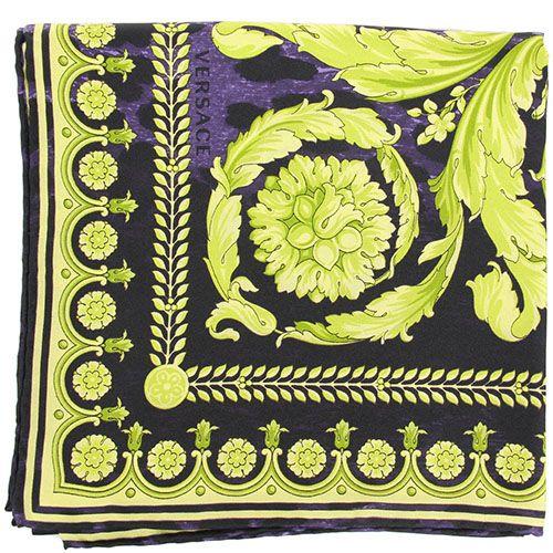 Платок Versace из натурального шелка фиолетового цвета с ярко-зеленым рисунком, фото