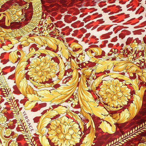 Шелковый платок Versace с анималистичным принтом бордового цвета, фото