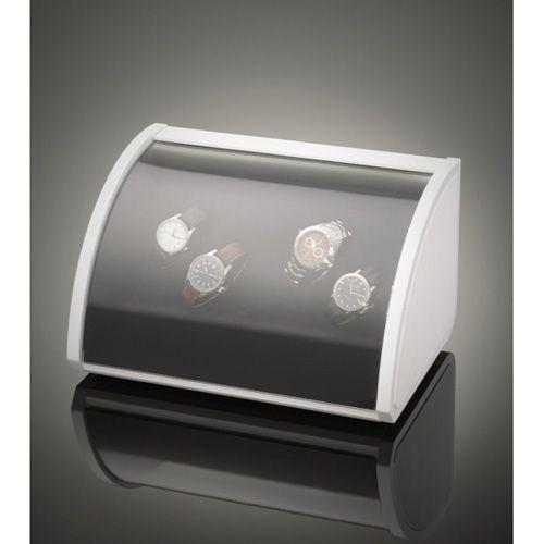 Шкатулка ElmaMotion Style белая с благородным блеском и кожаной отделкой для хранения и завода 4 часов, фото