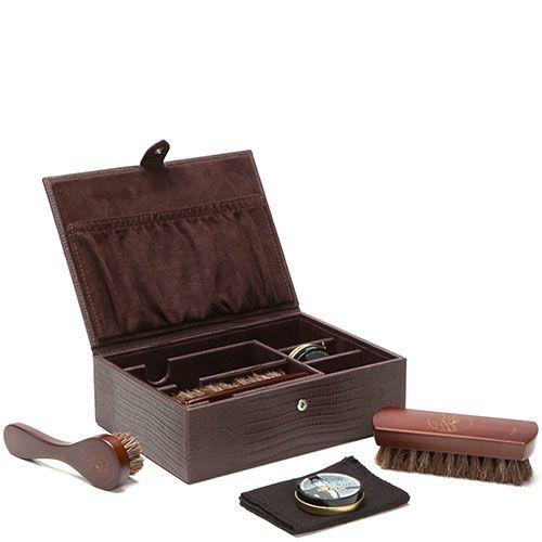 Набор Wolf 1834 для ухода за обувью в коричневом кейсе из натуральной кожи с тиснением под кожу рептилии, фото
