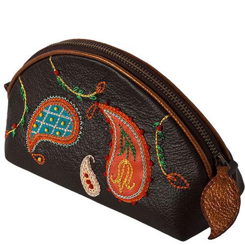 Косметичка Unique U коричневая с вышивкой Пейсли, фото