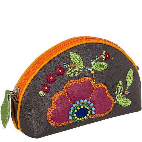 Косметичка Unique U темно-серая Петриковский цветок, фото