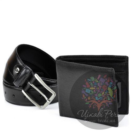 Набор Balenciaga черный из ремня и портмоне, фото
