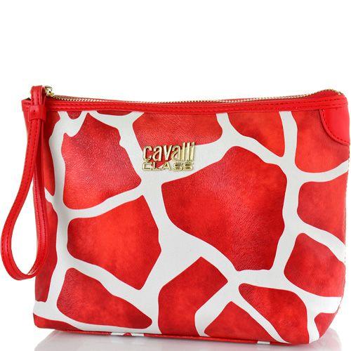 Косметичка Cavalli Class Nathalie бело-красная с принтом жираф и фактурой меха, фото