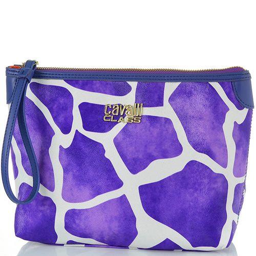 Косметичка Cavalli Class Nathalie фиолетовая с принтом жираф и фактурой меха, фото