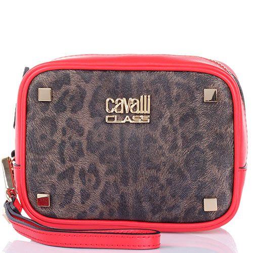 Косметичка Cavalli Class Tilda кожаная ярко-красная с леопардовым принтом, фото