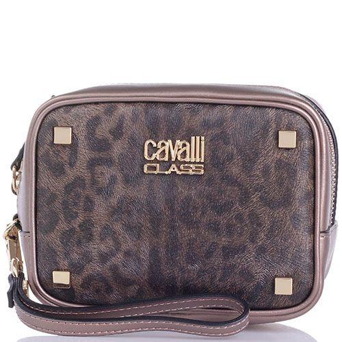 Косметичка Cavalli Class Tilda кожаная бронзового цвета с леопардовым принтом, фото