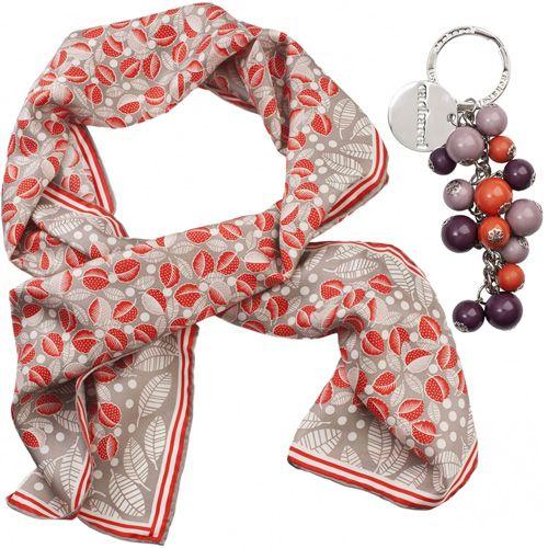 Набор Cacharel из шелкового шарфа и дизайнерского брелока, фото