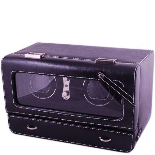 Шкатулка для двух часов AB Collezioni Lotus черная с автоподзаводом, фото