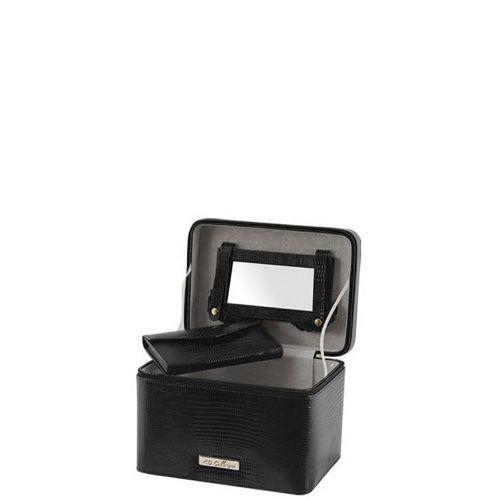 Кейс AB Collezioni Lezard черный прямоугольный с маникюрным набором, фото