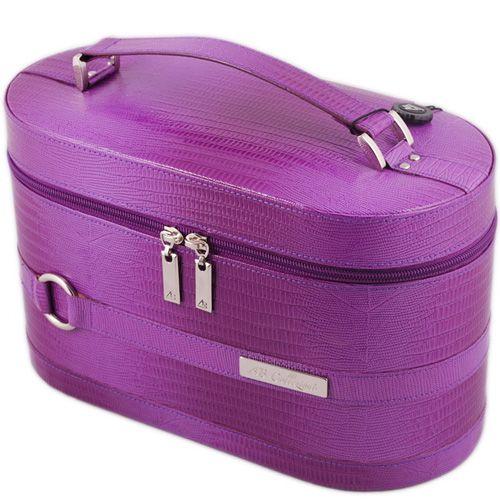 Кейс для косметики AB Collezioni Lezard сиреневый с маникюрным набором, фото