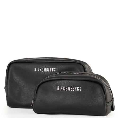 Набор косметичек Bikkembergs из черной кожи, фото