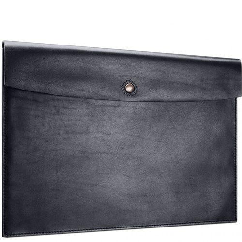 Кожаная черная папка Moreca Black на кнопке для документов А4, фото