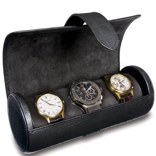 Шкатулка для часов Rapport черная в виде цилиндра, фото