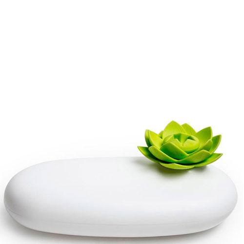 Футляр белого цвета с зеленым цветком Qualy Lotus, фото