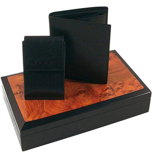 Набор Samsonite из черных кожаных портмоне и ключницы в подарочном лаковом футляре, фото
