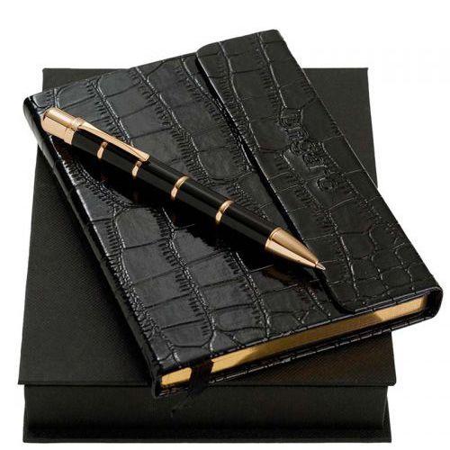 Набор Ungaro черный с золотом: дизайнерский блокнот и шариковая ручка, фото