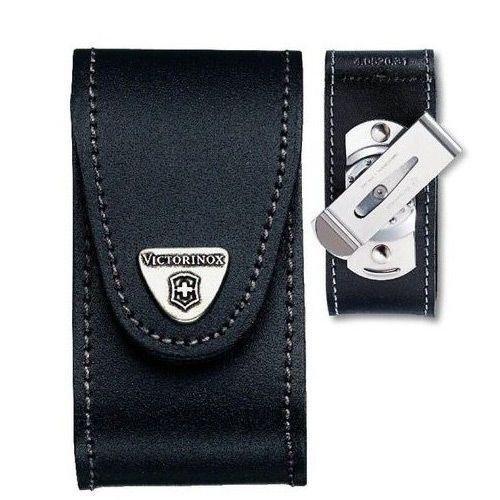 Чехол-ножны Victorinox  из черной кожи с поворотным клипом, фото