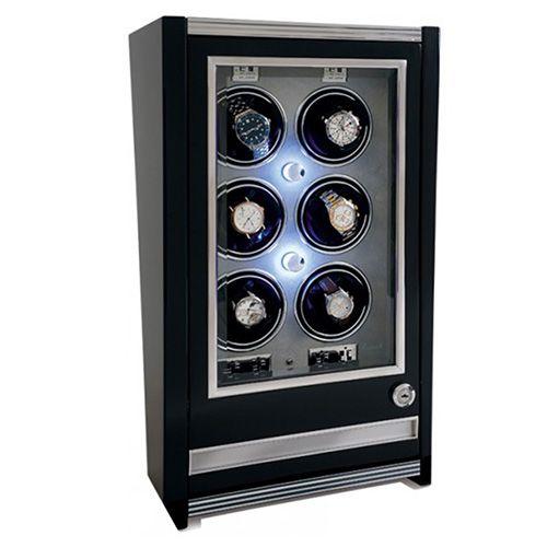 Шкатулка с выдвижным ящиком для хранения 6 часов Rapport Paramount Ebony Six w506, фото