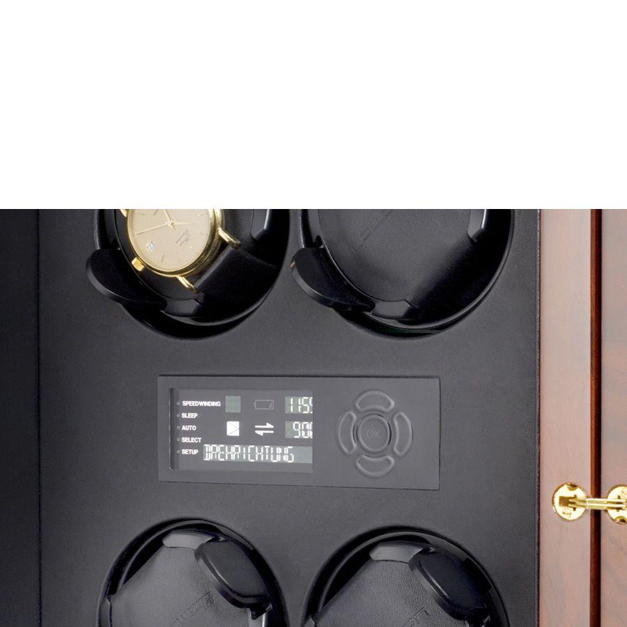Шкатулка ElmaMotion Corona Burlwood со стеклянными дверцами для хранения и завода 8 часов