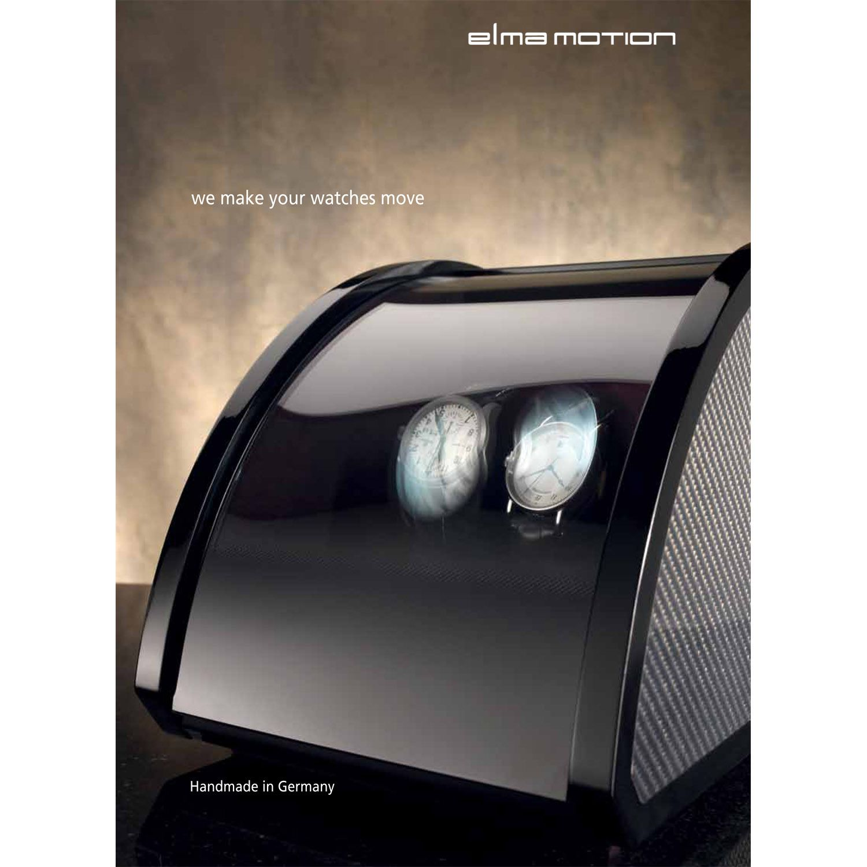 Шкатулка ElmaMotion Style с благородным блеском и отделкой карбоном для хранения и завода 2 часов
