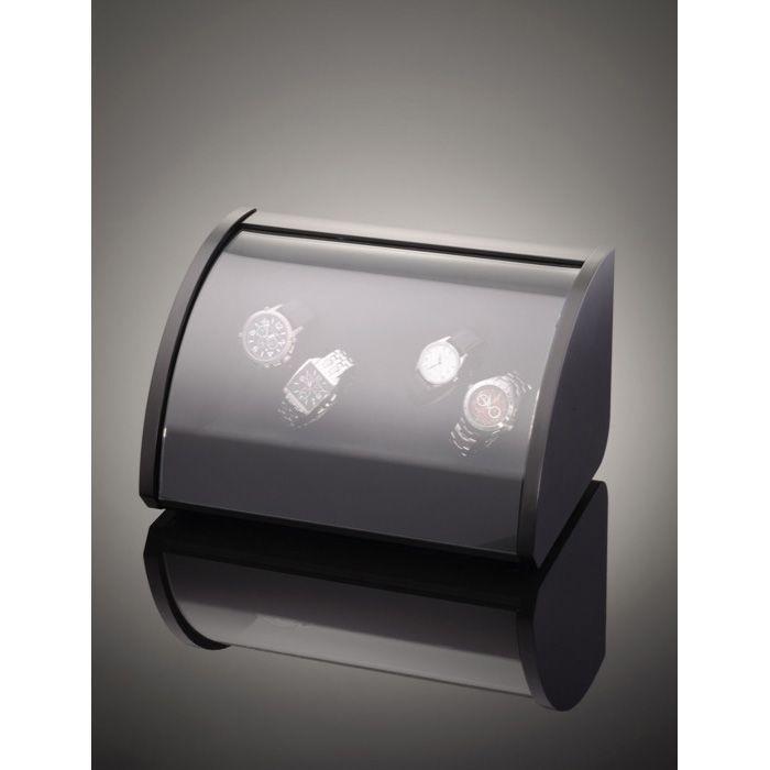 Шкатулка ElmaMotion Style для хранения и завода 4 часов черная с матовым шелковистым покрытием