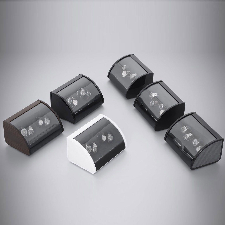 Шкатулка ElmaMotion Style для хранения и завода 4 часов черная с благородным блеском