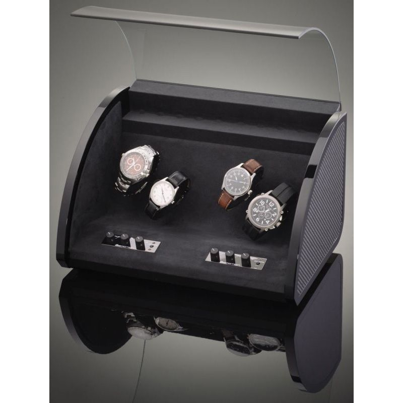 Шкатулка ElmaMotion Style с благородным блеском и отделкой карбоном для хранения и завода 4 часов