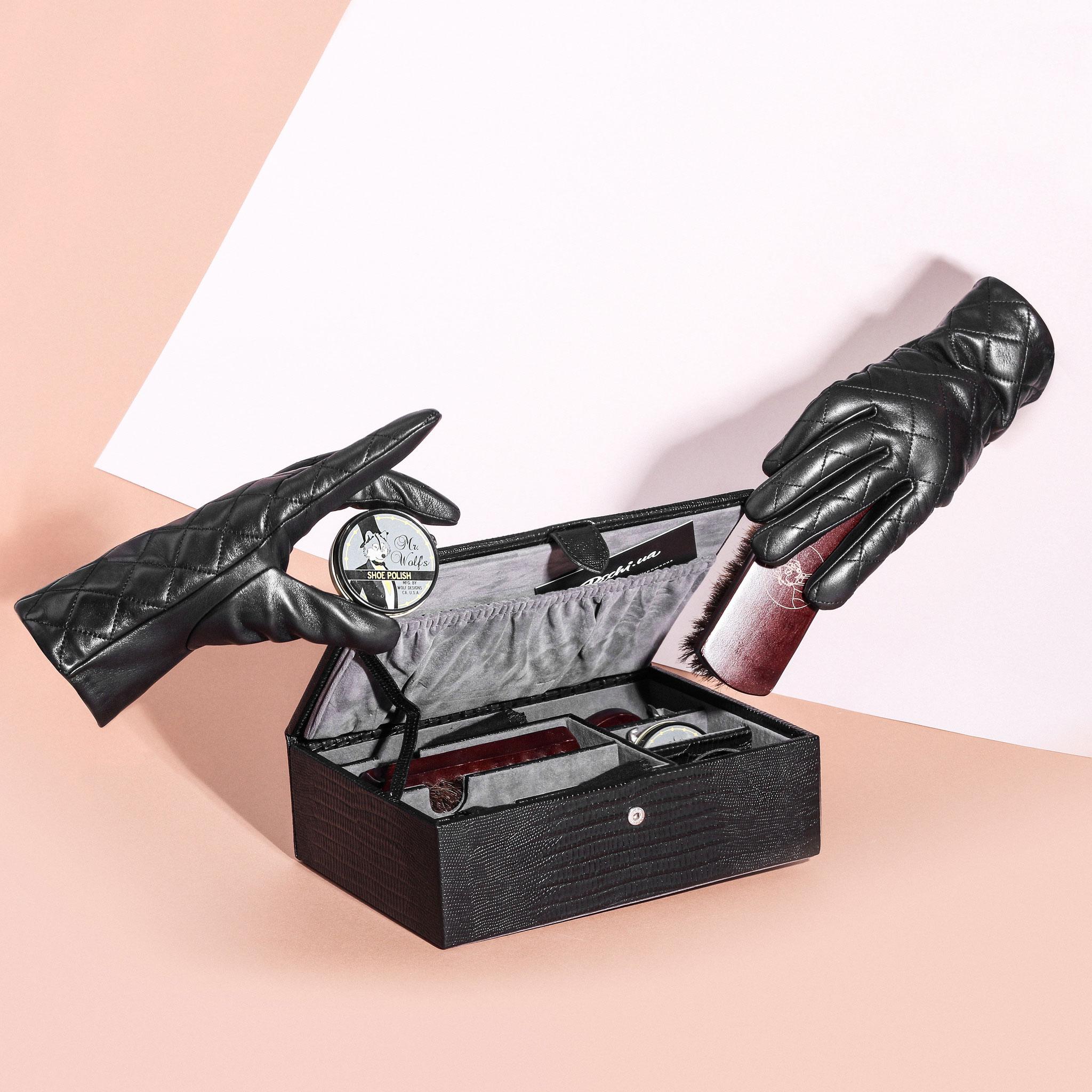 Набор Wolf 1834 для ухода за обувью в кейсе из кожи с тиснением под кожу рептилии