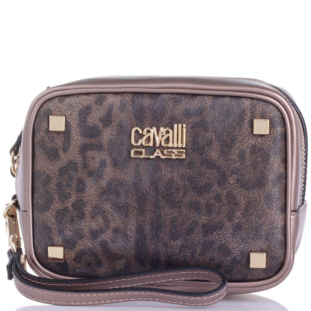Косметичка Cavalli Class Tilda кожаная бронзового цвета с леопардовым принтом