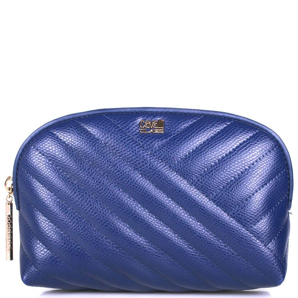 Косметичка Cavalli Class Idol синего цвета стеганая