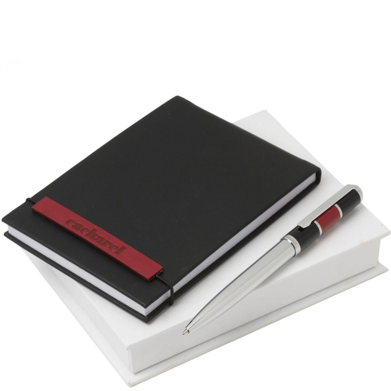 Набор Cacharel из дизайнерского черного блокнота и шариковой ручки с черно-бордовой отделкой китайским лаком