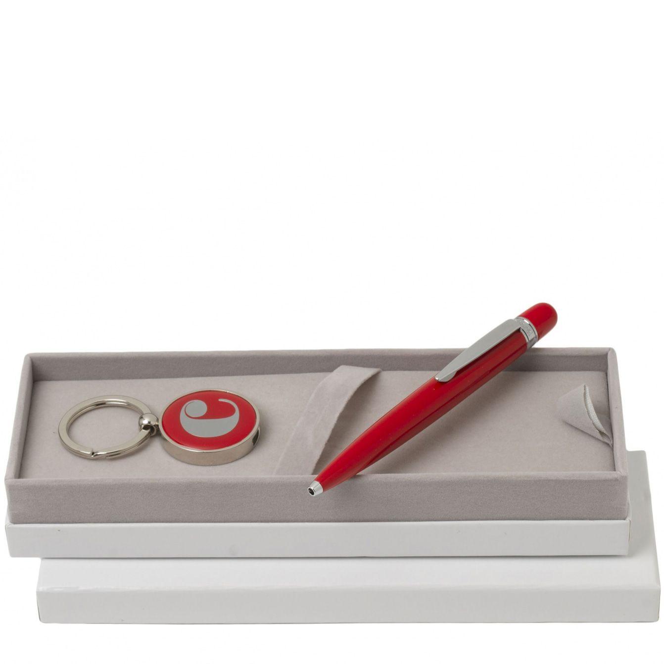 Набор Cacharel красный: шариковая ручка и брелок с флеш-картой