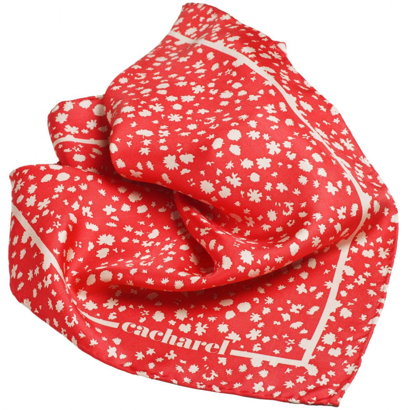 Набор Cacharel красный из дизайнерских наушников и шелкового платка