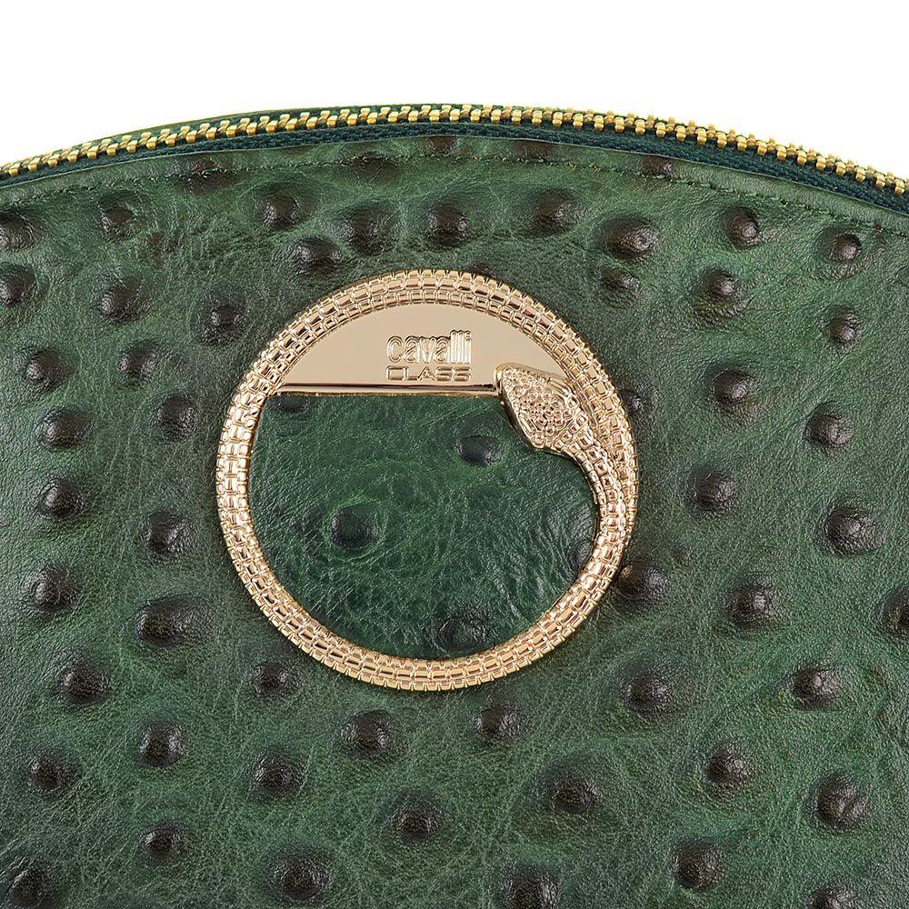 Косметичка Cavalli Class Cameo кожаная темно-зеленая мягкая со страусиной фактурой