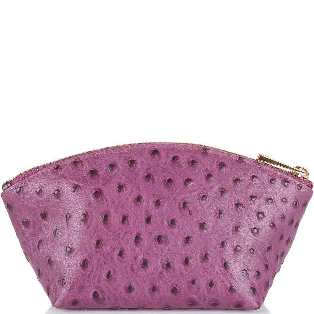 Косметичка Cavalli Class Cameo кожаная розово-сиреневая мягкая со страусиной фактурой