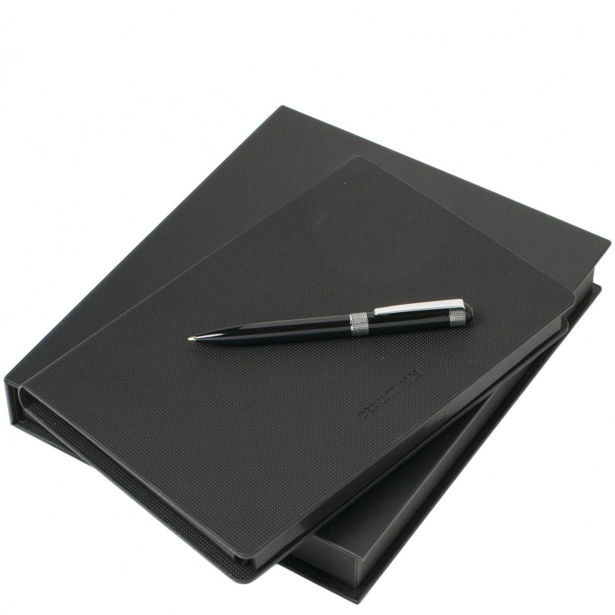 Набор Cerruti 1881 из блокнота А6 в дизайнерской обложке и шариковой посеребренной ручки