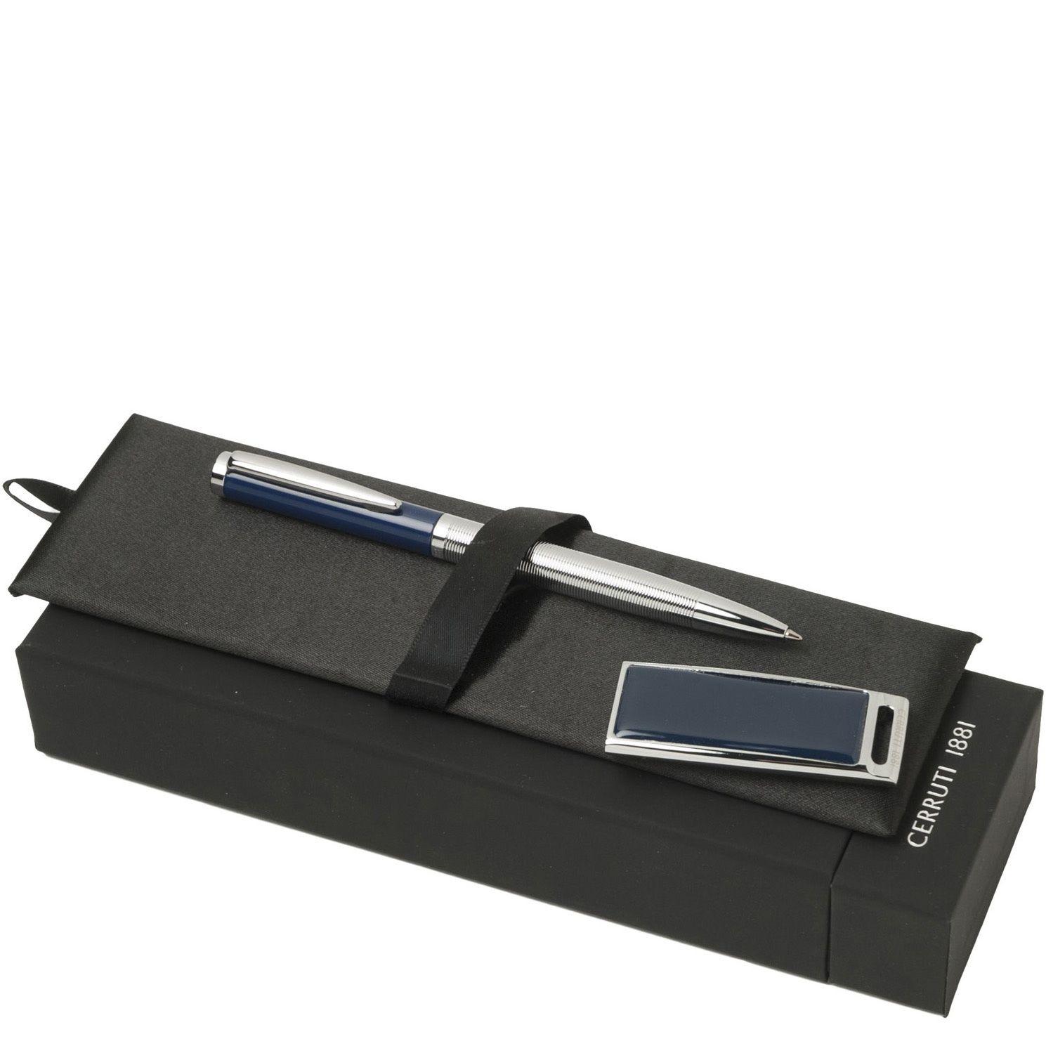 Набор Cerruti 1881 из шариковой ручки Drill Blue и флеш-карты Zoom Blue USB2 на 2 Гб