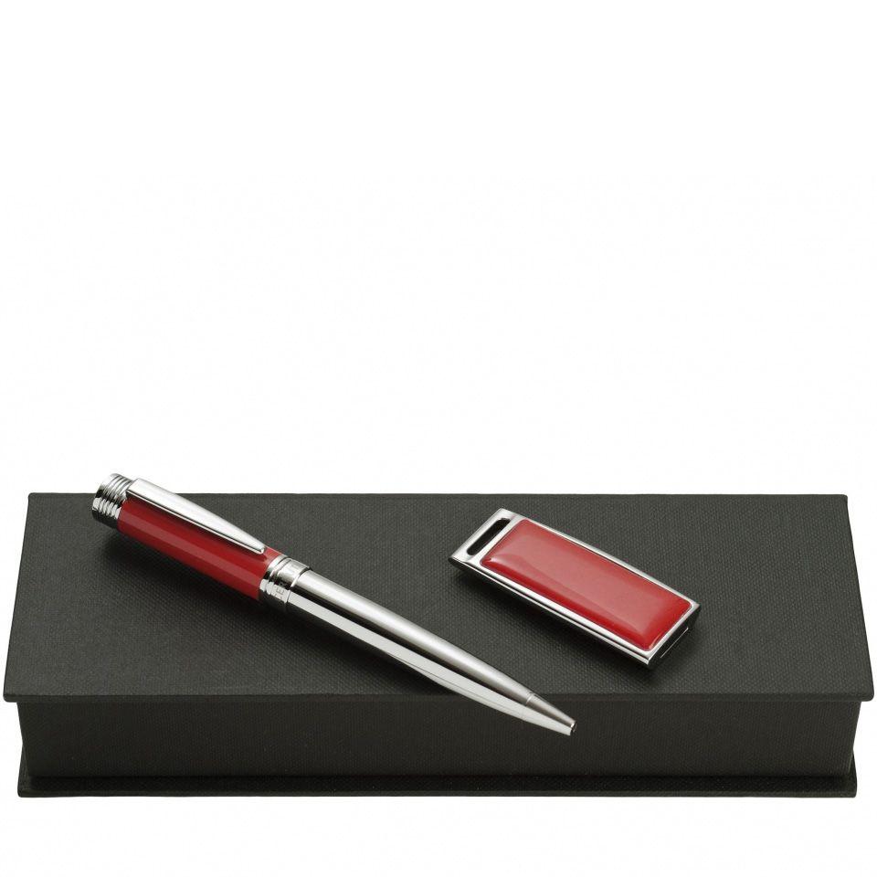 Набор Cerruti 1881 из шариковой ручки Drill Red и флеш-карты Zoom Red USB2 на 2 Гб