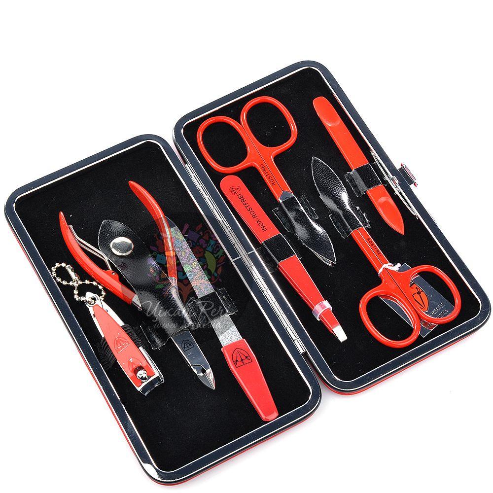 Маникюрный набор Kellermann из 7 инструментов в красном футляре с застежкой-рамкой