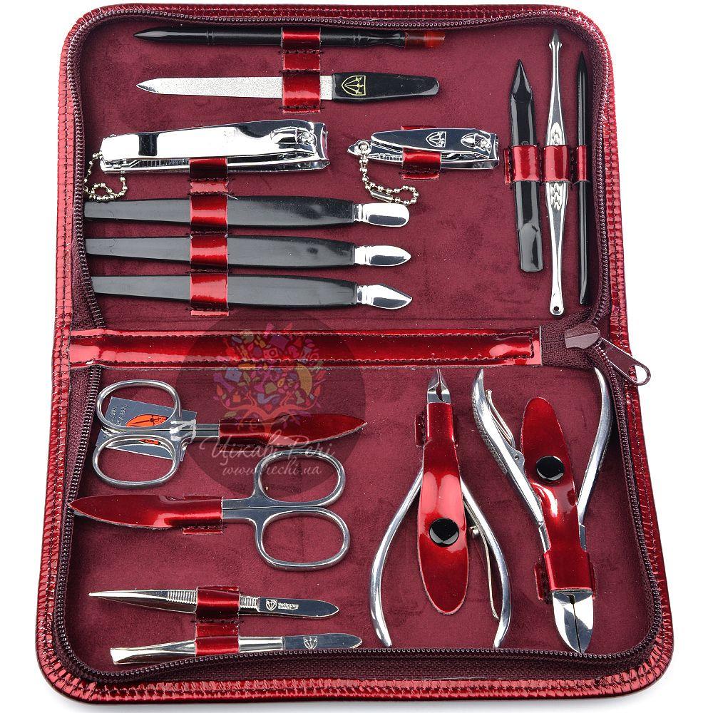 Маникюрный набор Kellermann с 16 инструментами в винном лаковом футляре на молнии