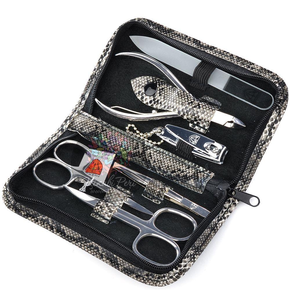 Маникюрный набор Kellermann с 6 инструментами в футляре под кожу змеи на молнии