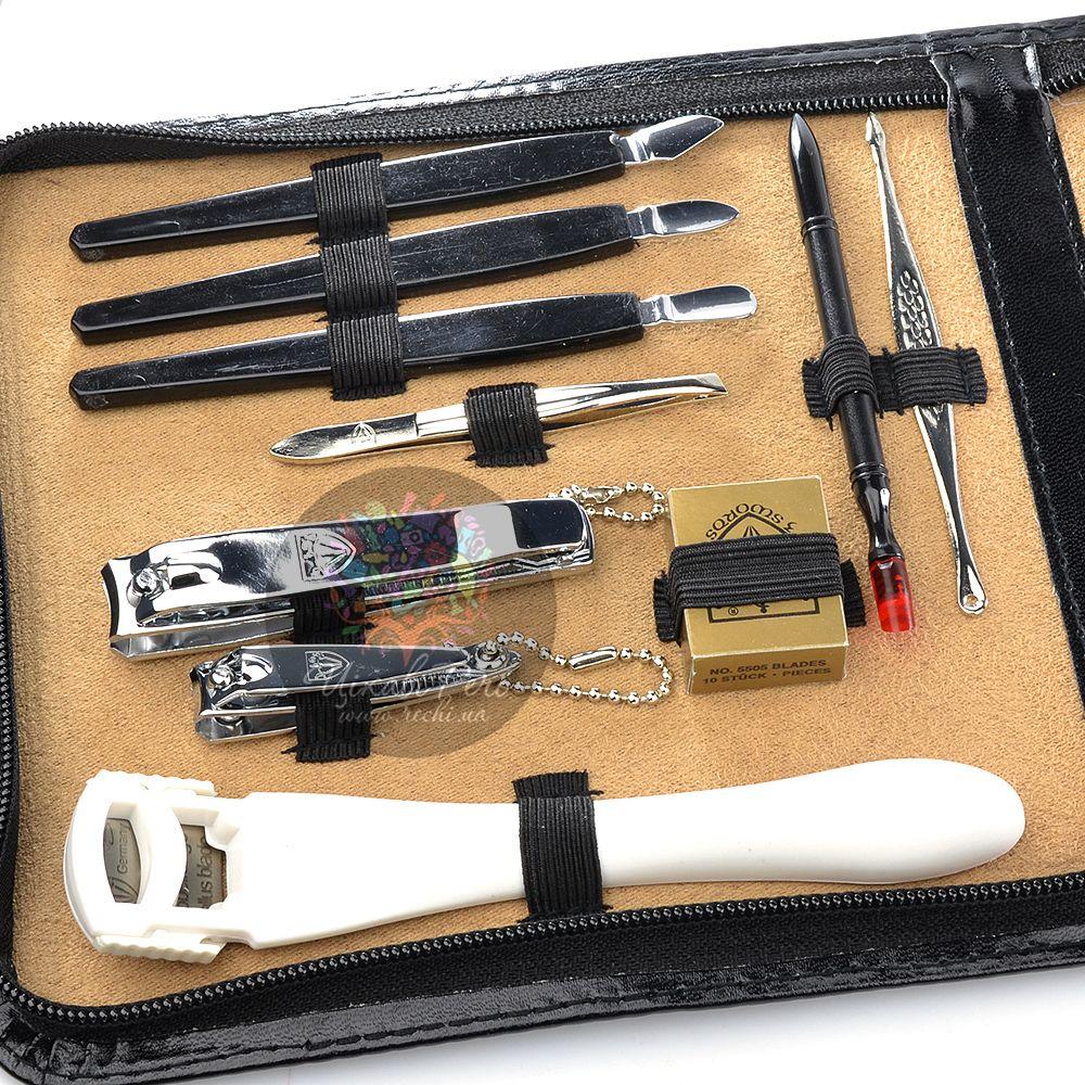 Маникюрный набор Kellermann с 18 инструментами в черном футляре на молнии
