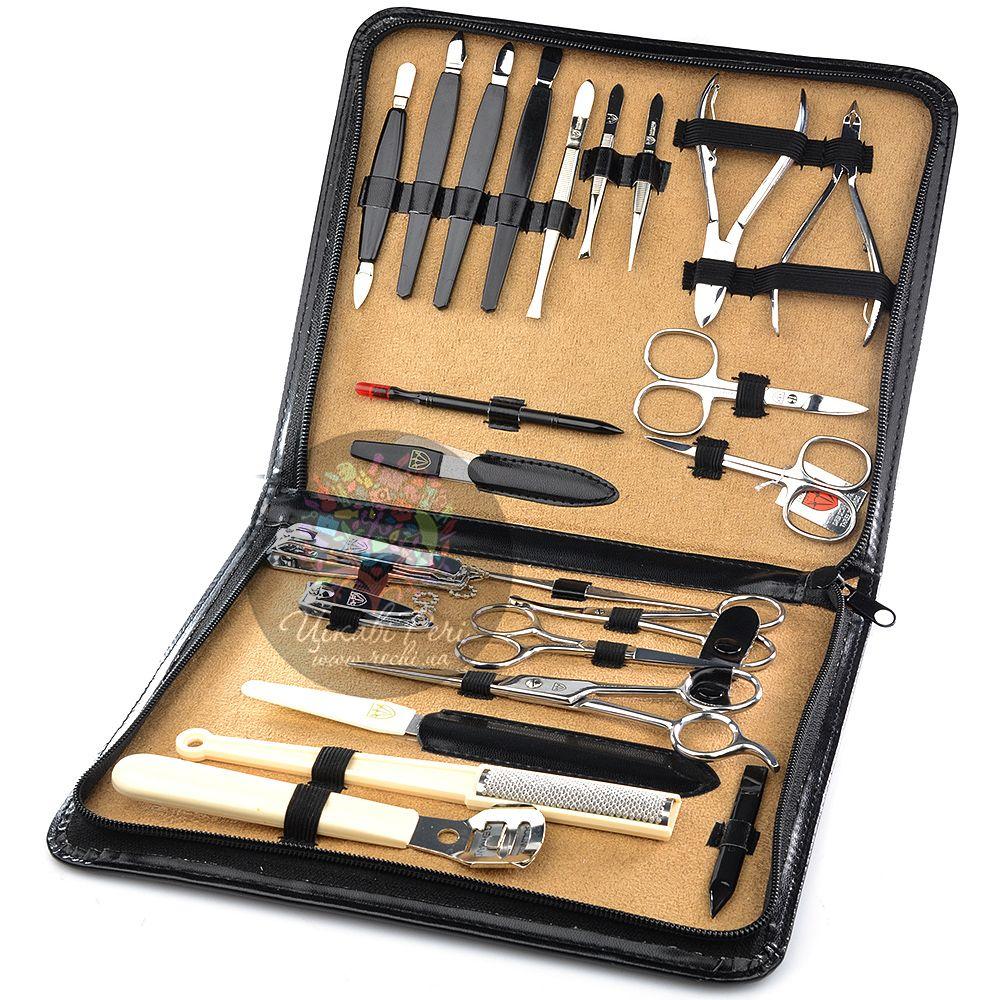 Маникюрный набор Kellermann с 23 инструментами в черном футляре на молнии