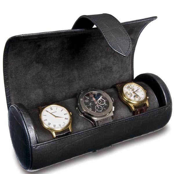 Шкатулка для часов Rapport черная в виде цилиндра