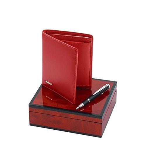 Набор Samsonite из красного кожаного портмоне и шариковой ручки в подарочном лаковом футляре