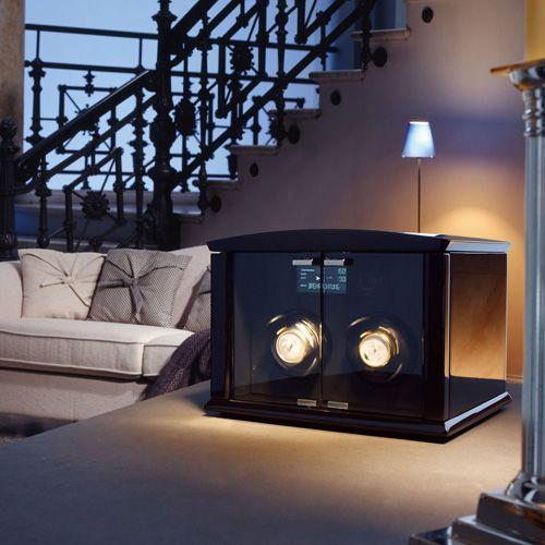 Шкатулка ElmaMotion Corona Version Piano черная для хранения и завода 2 часов, фото