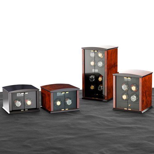 Шкатулка ElmaMotion Corona Burlwood со стеклянными дверцами для хранения и завода 4 часов, фото
