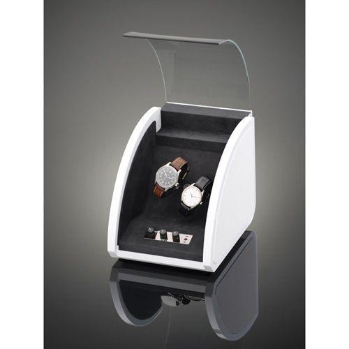 Шкатулка ElmaMotion Style белая с благородным блеском и кожаной отделкой для хранения и завода 2 часов, фото